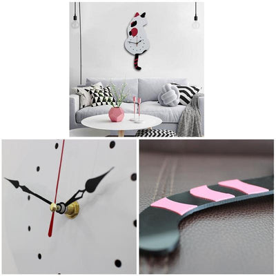 Cat Wall Clock With Swinging Tail Pendulum 1