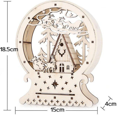 Luminous LED Small Wooden House Christmas Decoration