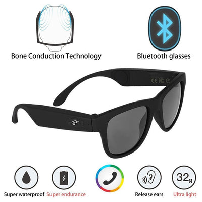bone conduction stereo bluetooh4 headphones polarized sunglasses myopia glasses waterproof wireless