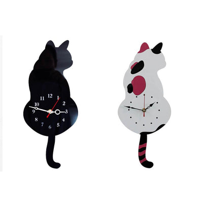 Cat Wall Clock With Swinging Tail Pendulum