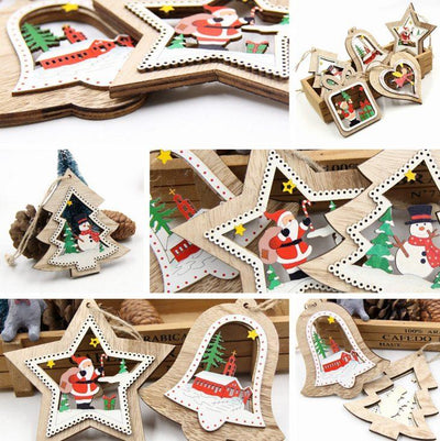 3 Piece Miniature Wooden Christmas Ornaments