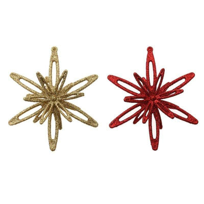 4 Pcs Christmas 3D Star Shape Glitter Ornaments 2