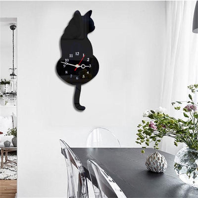 Cat Wall Clock With Swinging Tail Pendulum 5