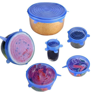 Silicone Stretch Lids 6 PACK Insta of VARIOUS SIZES,flexible Food Saving Lids,Fresh reusable and Durable food cover