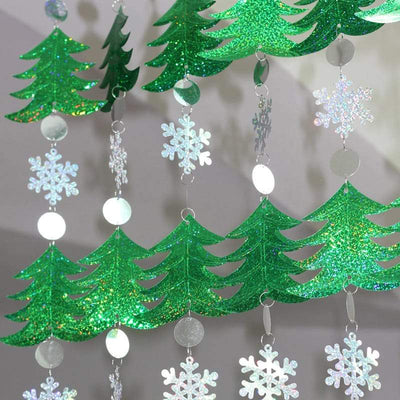 5 Pcs Christmas Tree Snowflakes Sequins Curtain Strips Decor