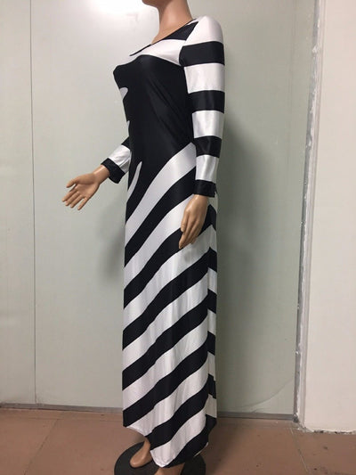 Long Sleeved Black and White Maxi Dress