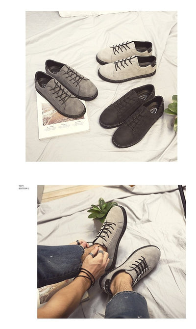 Fashion Minimalist Design Faux Suede Mens Flat Sneakers