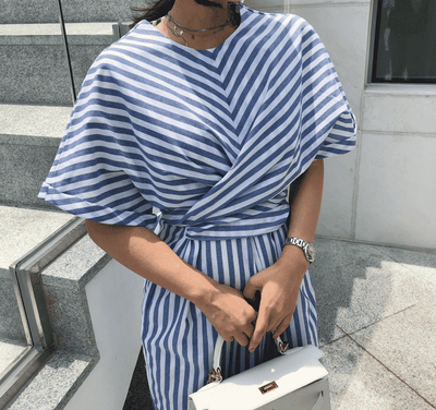 Blue and White Striped Dress - Blue Stripe Shirt Dress
