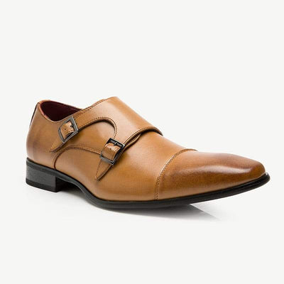 Leather Mens Buckle Shoes - Monk Stap Shoes on for Men