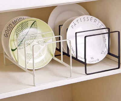 Kitchen Dish Holder - White Decorative Bowl Rack