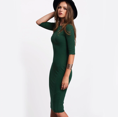 Green Midi Dress - Casual Bodycon Dress Half Sleeve