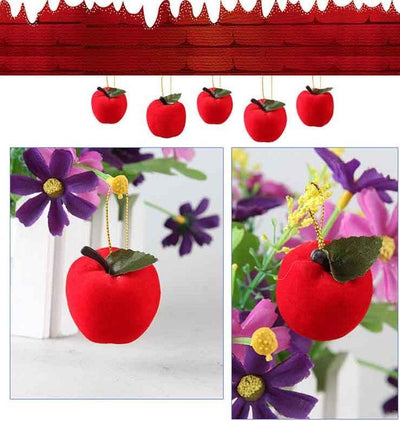 12 Pcs Apple Christmas Tree Ornaments - Red Felt Apple Decor