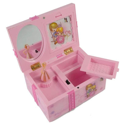 Kids Pink Jewelry Box - Dancing Ballerina Music Box