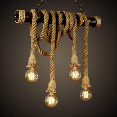 Industrial Vintage Hanging Lamp Double Bulb Rope Pendant Light