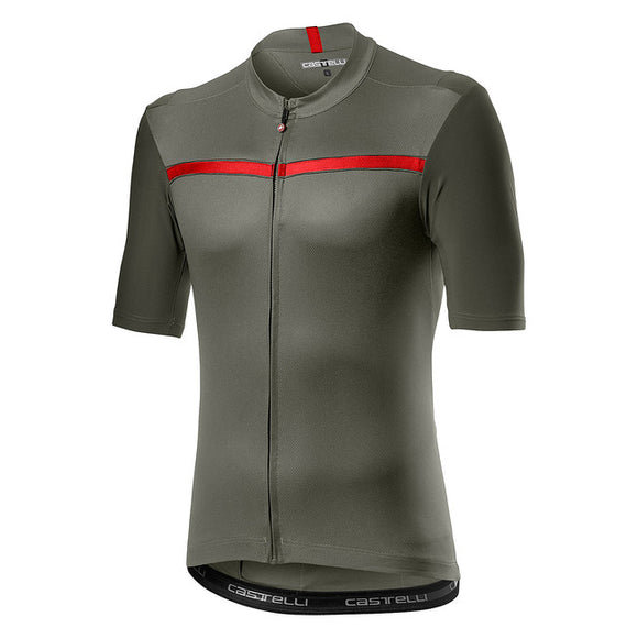 CASTELLI Unlimited SS Mens Jersey - FOREST GRAY/RED