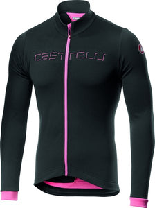 Castelli Fondo Men's Thermal LS Jersey - Black/Giro Pink