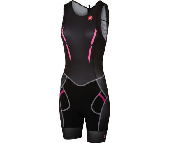Castelli FREE W Tri Suit Back Zip - Black/Pink