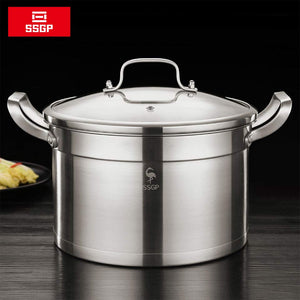 7L 304 Stainless Steel Pot Thickened Three-Layer Bottom Right Angle Soup Pot Gas Induction Cooker General With Visualization Lid