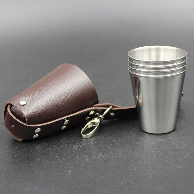 4pcs 70ml Stainless Steel Wine Glasses Portable Beer Key Chain Outdoor Cup Camping Whiskey Travel Set
