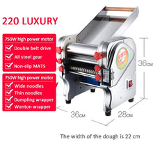 Load image into Gallery viewer, Stainless steel electric noodle machine Noodle Dumpling Pasta Maker Dough Cutter dumpling skin machine Noodle press 220V EU PLUG