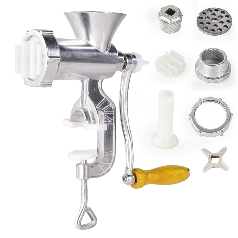 Aluminium Alloy Hand Operate Manual Meat Grinder Sausage Beef Mincer With Tabletop Clamp Kitchen Home Tool