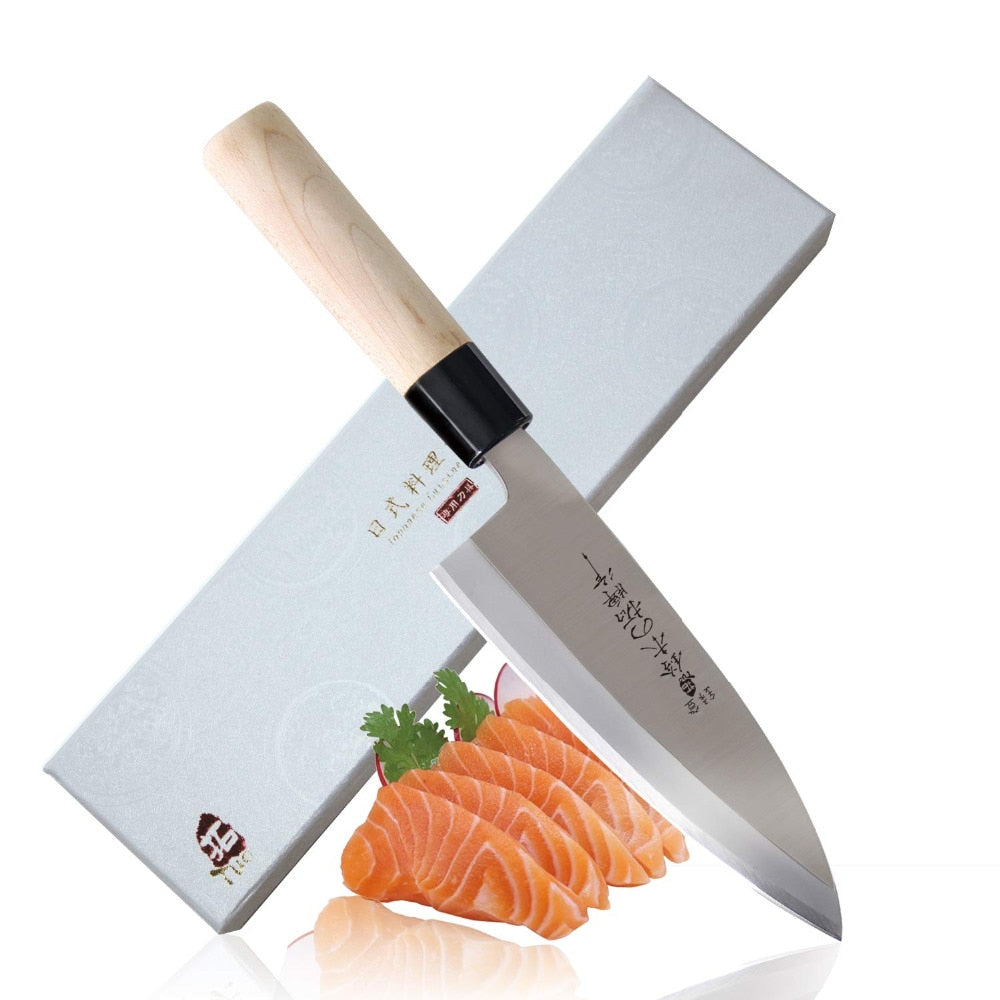 Deba knife - Japanese Sashimi Sushi Knife - High Carbon Stainless Steel Kitchen Knife with Ergonomic Handle - 6.5