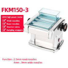Load image into Gallery viewer, electric automatic noodle pasta press machine stainless steel noodle cutting dumpling skin machine rolling surface machine