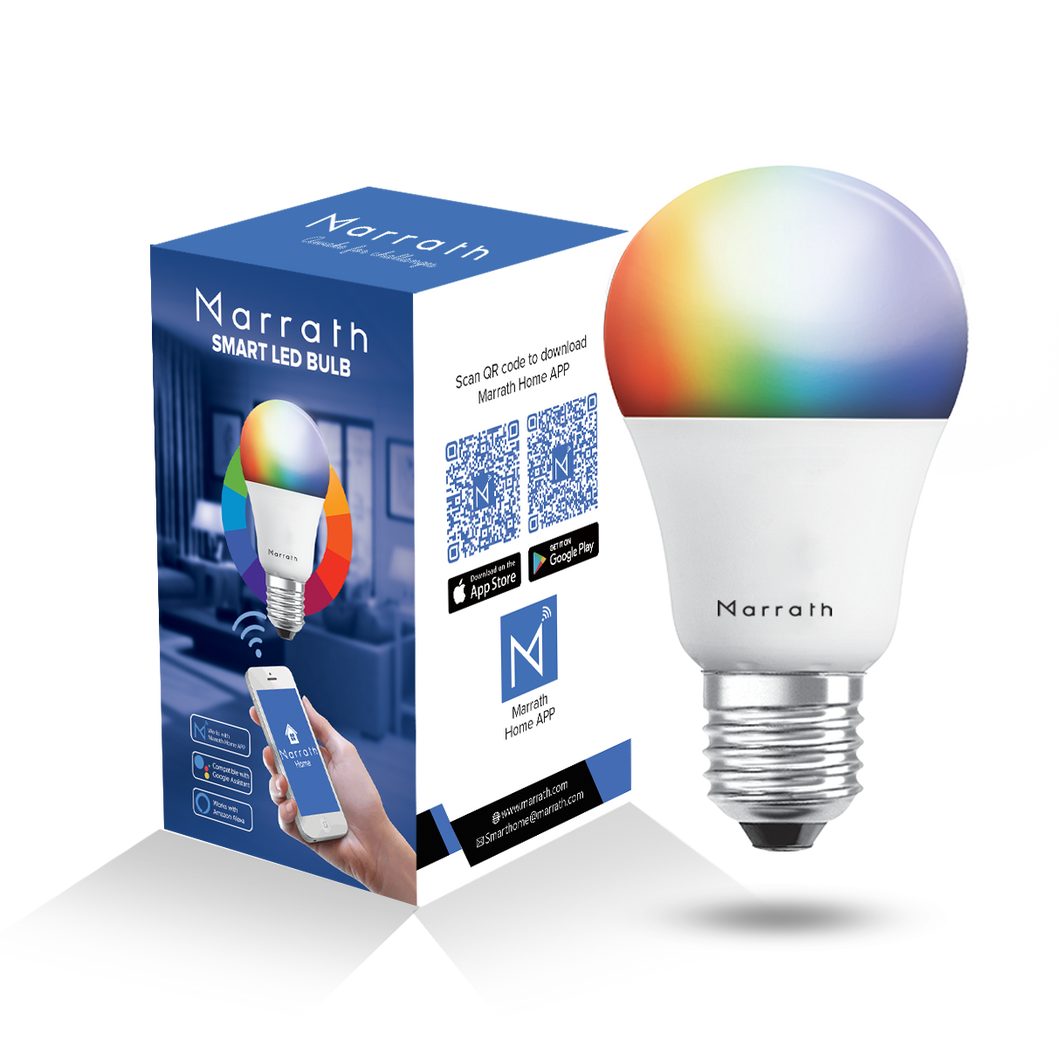 Marrath Smart Home Multi Color RGBW Wi-Fi Bulb to change the light color using Marrath Home APP
