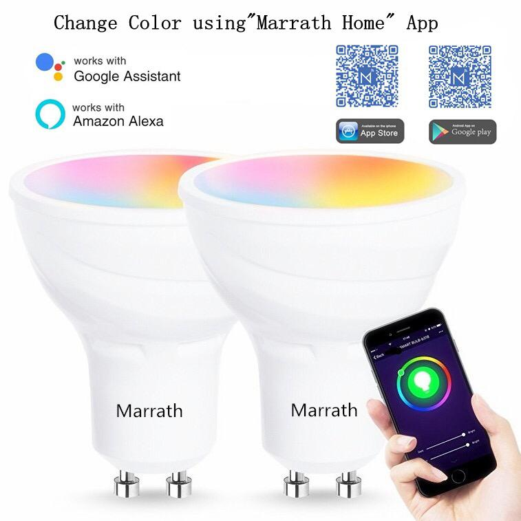 Marrath Smart Home 16 Million Color RGBW Wi-Fi GU 10 spot ceiling light work with Marrath Home APP