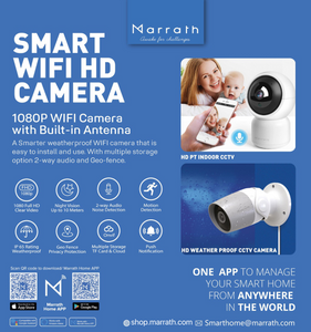 Marrath Smart WiFi HD weatherproof indoor / outdoor plug and play CCTV camera with motion detection