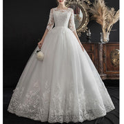 Lace Bridal Wedding Gown A Line Elbow Sleeves Floor Length Bride Dress