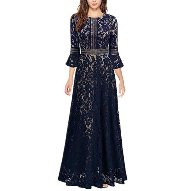 Vintage Maxi Dresses For Wedding Party Women Lace Long Sleeve