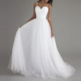 A Line Bridal Wedding Gown Long A Line Spaghetti Strap Lace Up