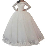 Ball Gown Wedding Gown With Long Sleeves Vintage Floor Length