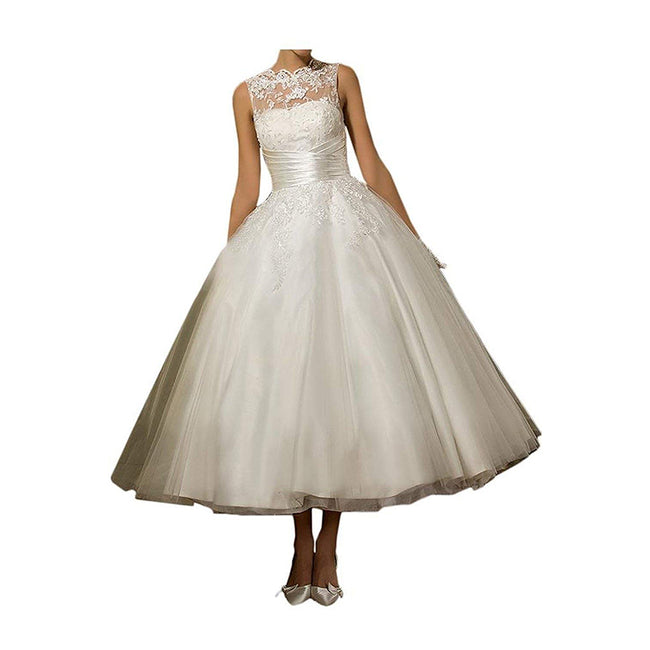 Short Bridal Dress A Line Wedding Gown Lace Tulle Scoop Neck