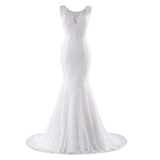 Trumpet Bridal Dress With Train Applique Sleeveless Lace Up Wedding Gown