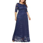 Floral Lace Evening Party Dress 2/3 Sleeves Floor Length Round Neck