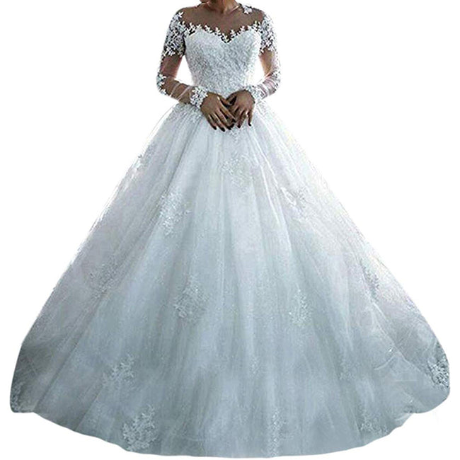 A Line Wedding Gown For Bride With Long Sleeve Appliques Train