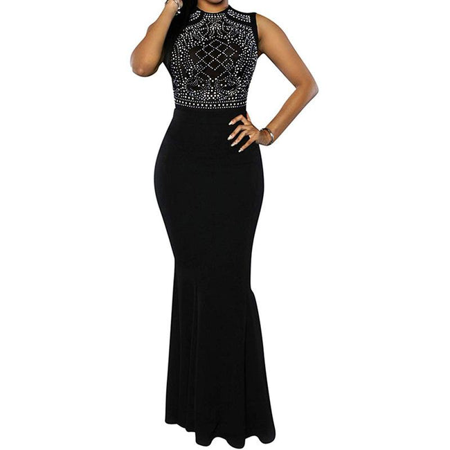 Women's Mermaid Evening Gown Dress Fitted Beading Sleeveless
