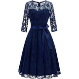 Floral Lace Bridesmaid Midi Dresses 3/4 Sleeve A Line Swing Illusion Neckline