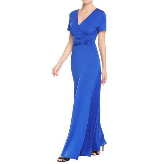 Elegant A Line Cocktail Gown Short Sleeve Deep V Neck Ruched Waist