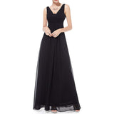 Chiffon Long Bridesmaid Dress Double V Neck Sleeveless Evening Dress