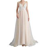 A Line Bridal Dresses For Women Chiffon Lace Applique Bridal Gown