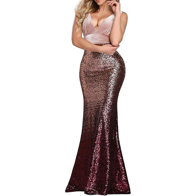 Women's Sequined Mermaid Evening Gown Double V Neck Patchwork