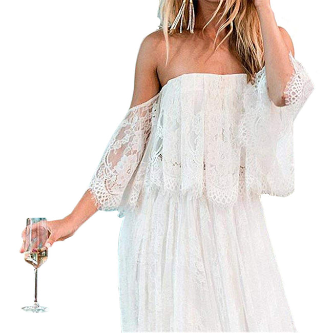 Boho Bride Dresses For Women Lace Off The Shoulder Wedding Gown