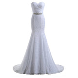 Mermaid Wedding Dresses For Bride Strapless Beaded Court Train