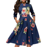 Evening Dresses For Women Vintage Floral 3/4 Sleeves Midi Dresses
