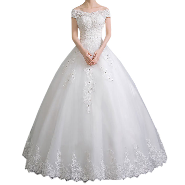 A Line Bridal Gown Off The Shoulder Wedding Gown Short Sleeve Floor Length