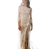 Bohemian Wedding Gown Lace Bridal Dress Boat Neck Long Sleeve