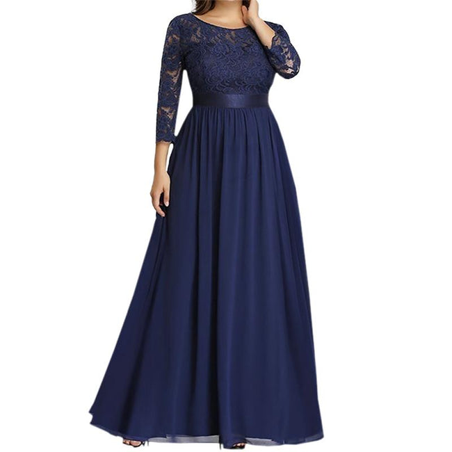 Plus Size Bridesmaid Dress Lace Long Evening Wedding Party Dress